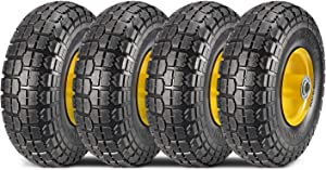 MaxAuto 4-Pack 10 Inch Solid Rubber Tyre Wheels Garden Wagon Cart Trolley Tires 4.10/3.50-4