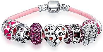 33e55f222 BFF Best Friends Multi European Bead Charms Bracelet Pink Genuine Leather  For Women 925 Sterling Silver