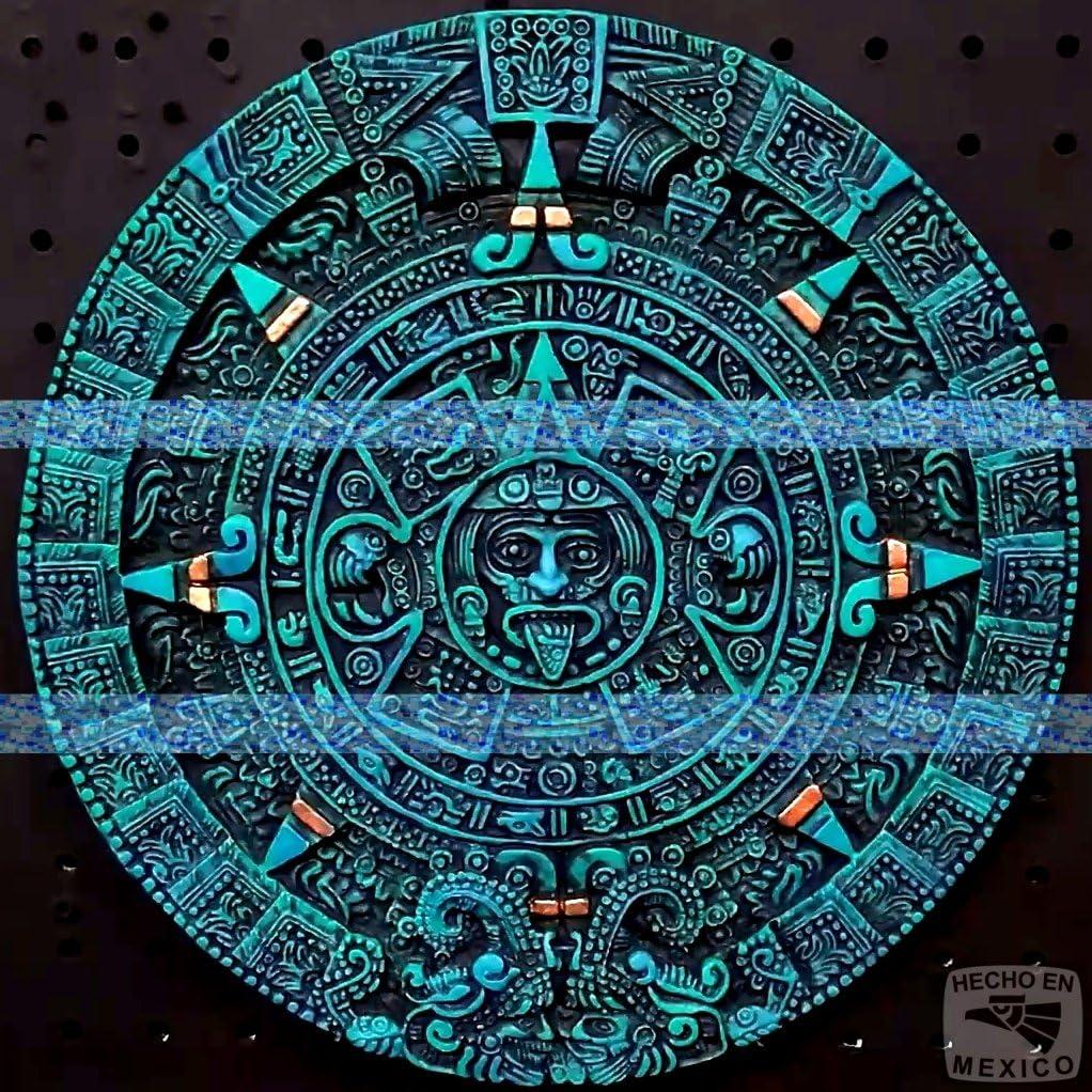 "12"" Aztec Maya Mayan Solar Sun Stone Calendar Statue Sculpture Wall Plaque Xiuhpohualli Tonalpohualli Mesoamerican Mexican Mexico Ancient Aliens Chariots of the Gods Art 054"