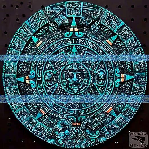 12″ Aztec Maya Mayan Solar Sun Stone Calendar Statue Sculpture Wall Plaque Xiuhpohualli Tonalpohualli Mesoamerican Mexican Mexico Ancient Aliens Chariots of the Gods Art 054