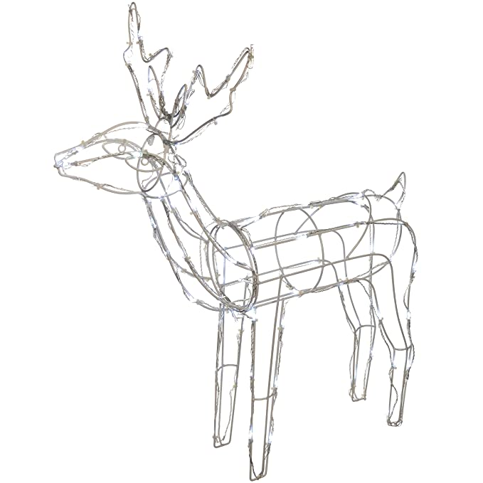 Werchristmas Pre Lit 3d Twinkling Reindeer Christmas Decoration With