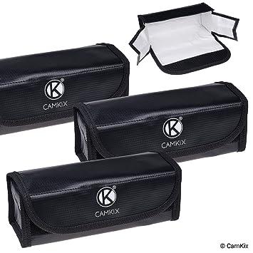 Camkix® Grandes Bolsas para baterías LiPo Resistentes al Fuego – Paquete de 3 – Bolsa de Seguridad y Almacenamiento – para una Carga y Transporte ...