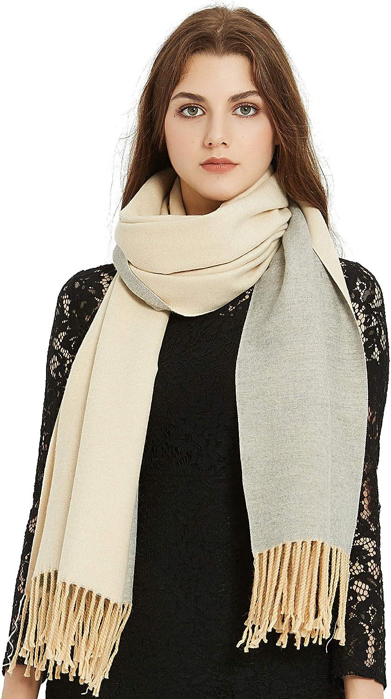 VIVIAN & VINCENT Premium Soft Elegant 2 Tone Virgin Wool Scarf Shawl Wrap