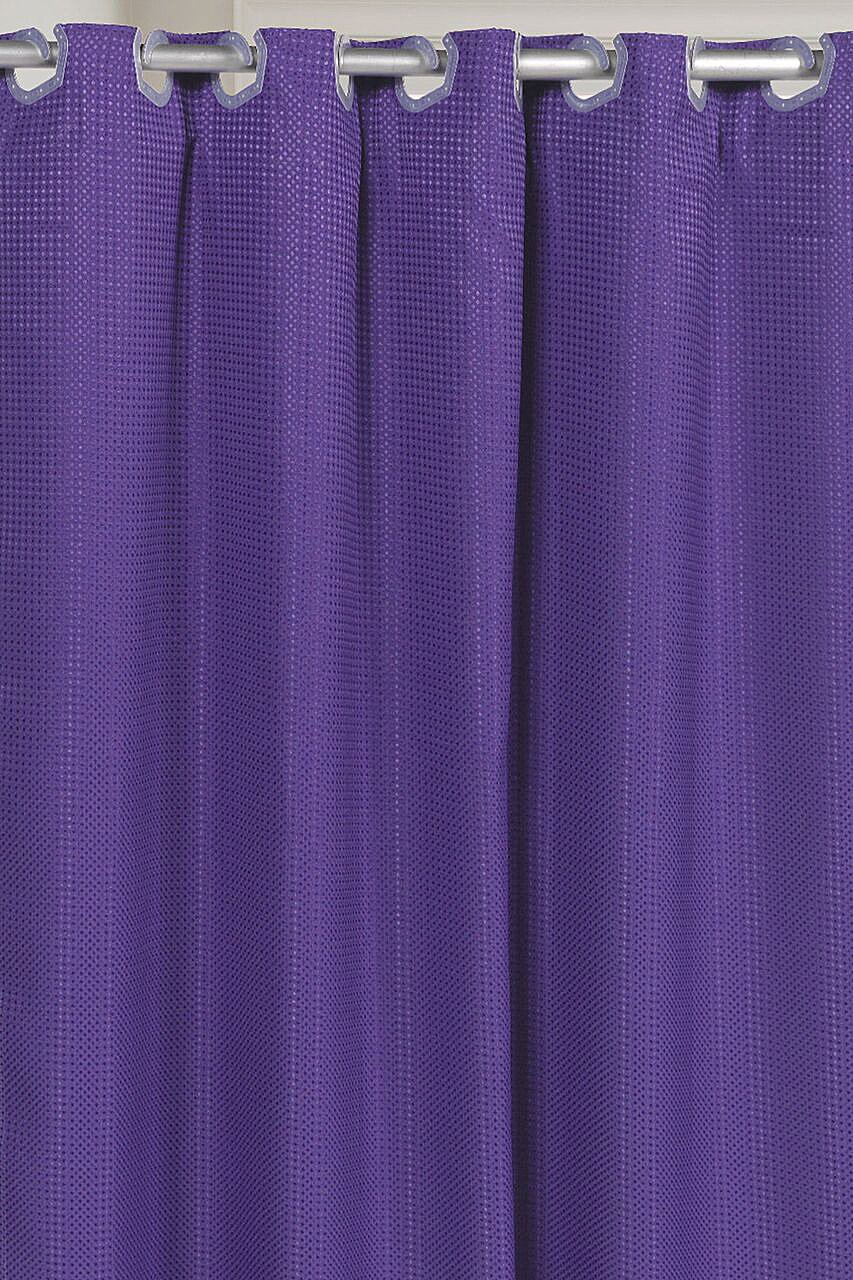Pre-Hooked Hotel Quality Waffle Weave 75 Inch Extra Fabric Shower Curtain with Snap-In Fabric Liner Purple