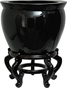 """Oriental Furniture 12"""" Solid Black Porcelain Fishbowl"""