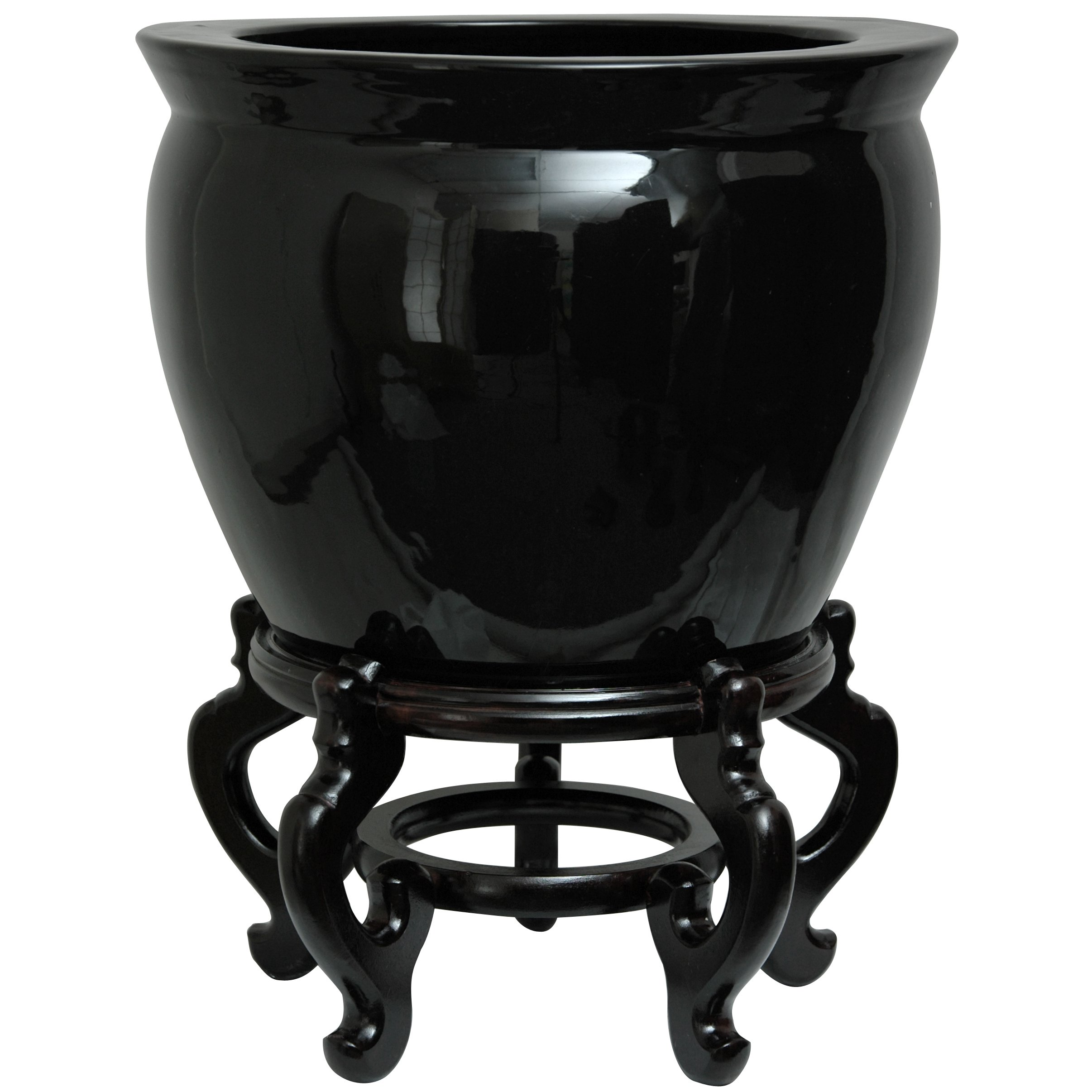 Oriental Furniture 14'' Solid Black Porcelain Fishbowl by ORIENTAL FURNITURE