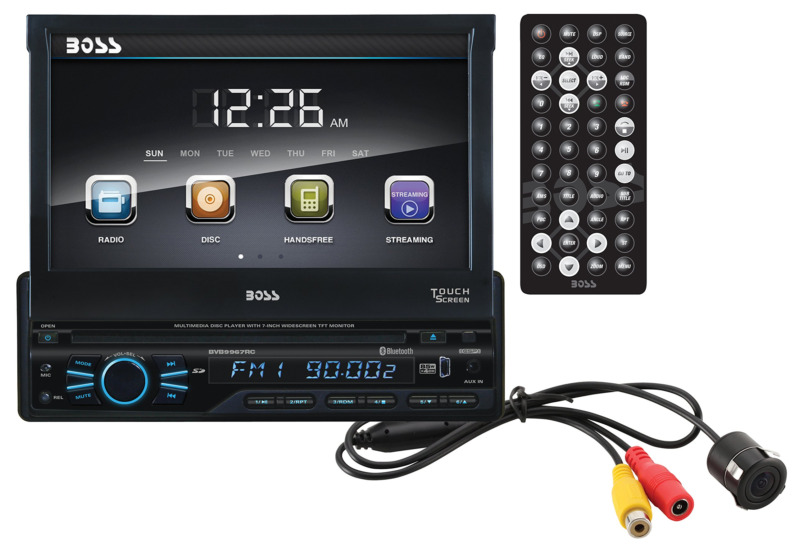 BOSS Audio BVB9967RC Single Din, Touchscreen, Bluetooth, DVD/CD/MP3/USB/SD AM/FM Car Stereo, 7 Inch Digital LCD Monitor, Detachable Front Panel, Wireless Remote, Rear Flush Mount Camera Included by BOSS Audio