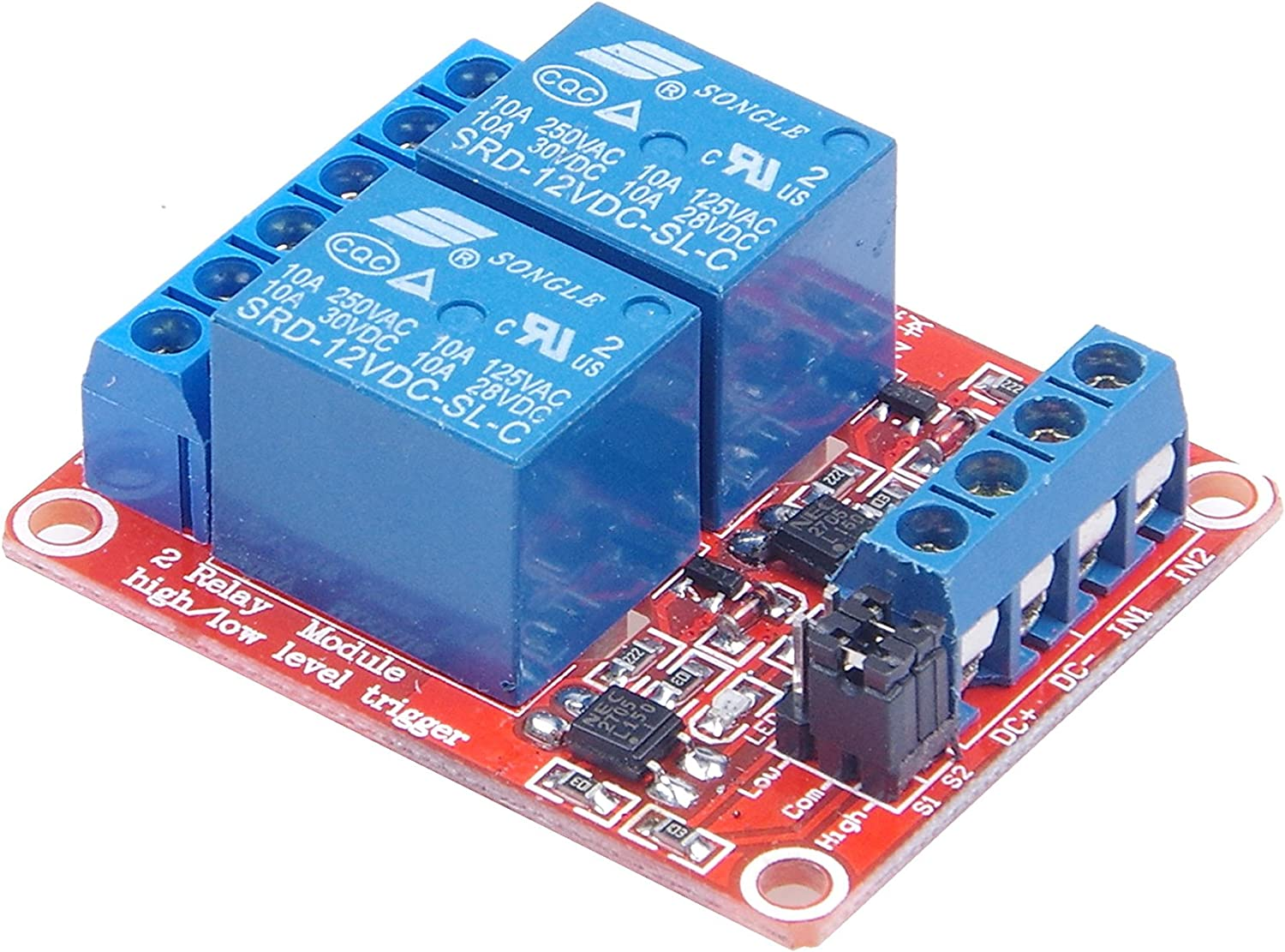 2-Channel Relay Board Module 12V 30A Optocoupler Isolation High//Low Trigger K8I5