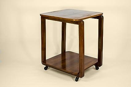 Mid-Century Modern madera minimalista carrito de té de tamaño mediano antiguo marrón Vintage Inglés