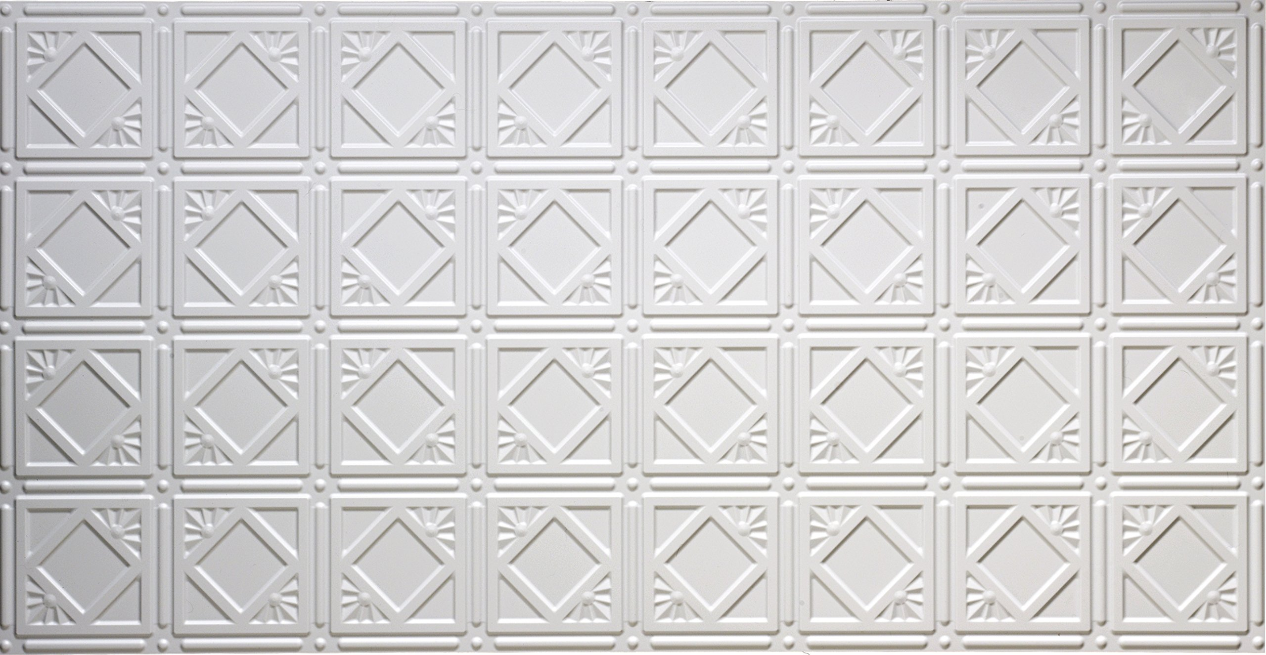 Global Specialty Products 207W Modern Tin Style Panels For Glue-Up Installation, Matte White