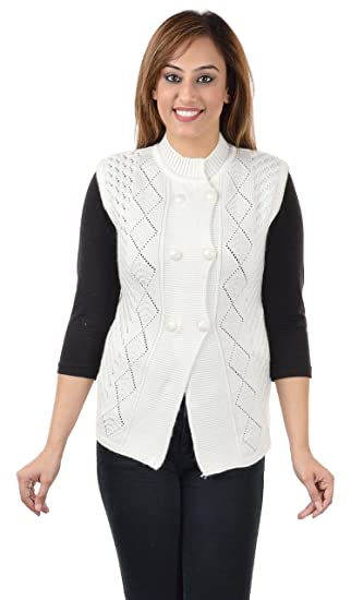 85a8442a602e77 Shree Mark Women s Wool Sleeveless Buttoned Cardigan (961w  White  X-Large)