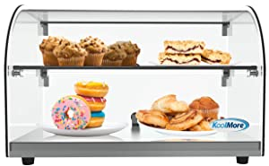 """KoolMore 22"""" Commercial Countertop Bakery Display Case with Front Curved Glass and Rear Door - 1.5 cu. ft."""
