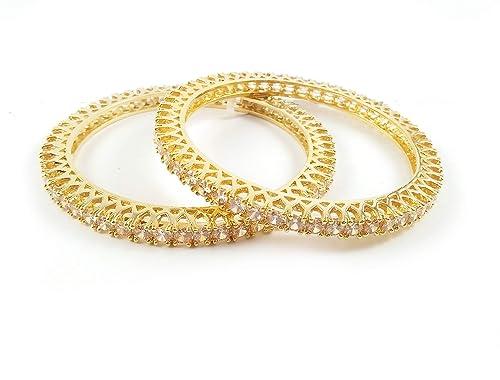 2cc692dbb7fcb Jia Lifestyle - Bangles Gold Plated American Diamond Jewelry for Women  Girls Ladies---Bracelet for girlfriend ...