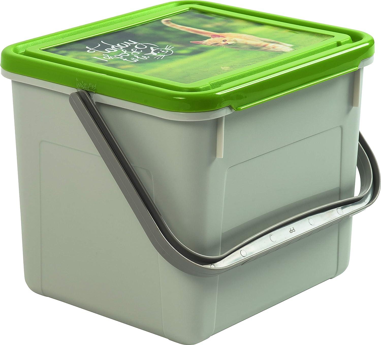Rotho 4550410536 Futterbehälter mit Tragegriff und Motiv auf Deckel 2, 8 kg Futter