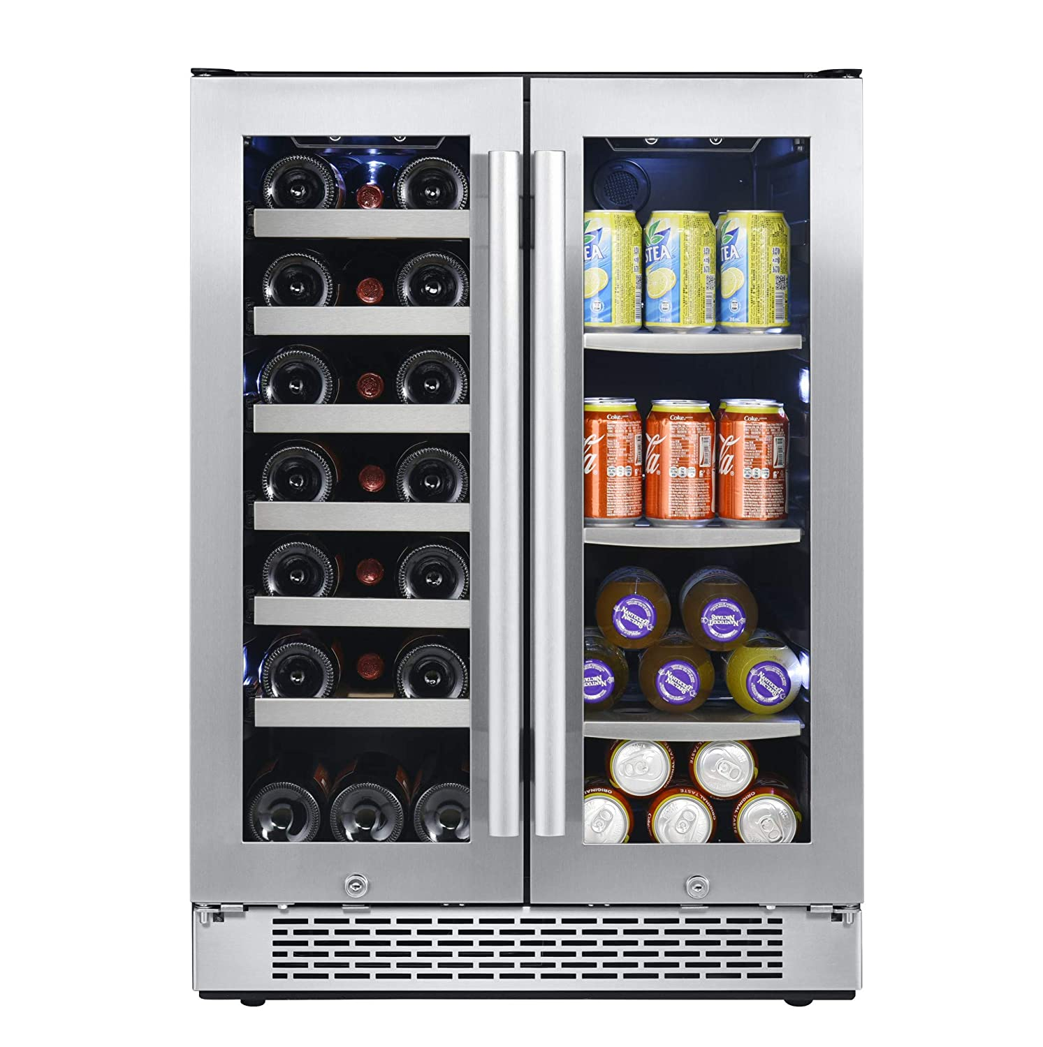 Avallon AWBC241GGFD 24 Inch Wide 21 Bottle and 60 Can Capacity Built-In Wine and Beverage Cooler with French Doors