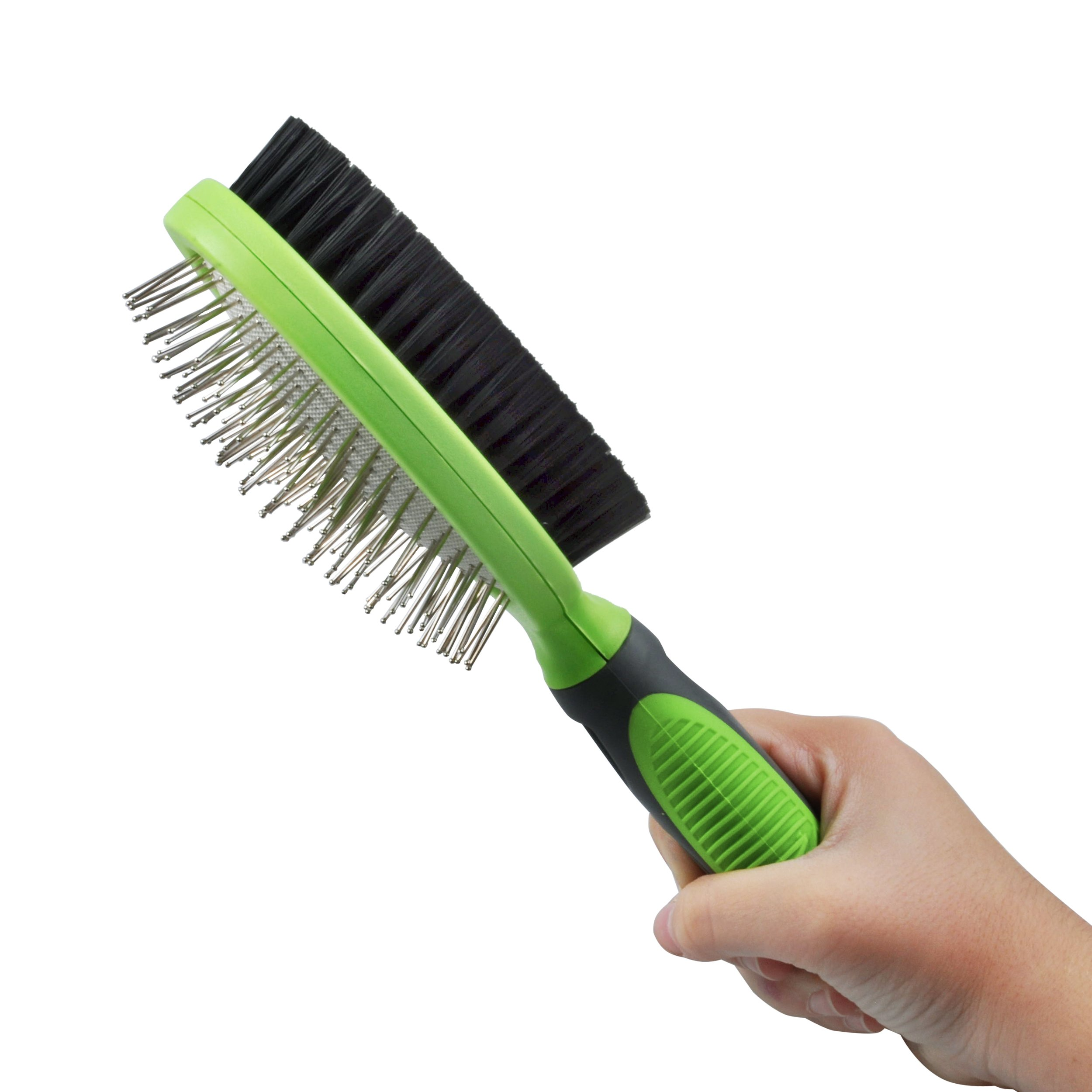 Double Sided Pin and Bristle Pet Grooming Brush by Petio Basics for Detangling and Shedding