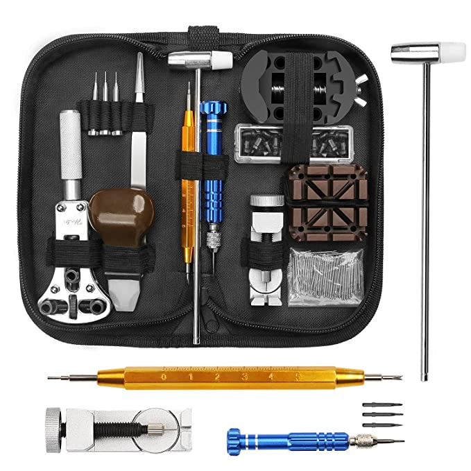 ELECTRAPICK Uhrmacherwerkzeug Set Uhrenwerkzeug Uhr Gehäuseöffner Stiftausdrücker Batteriewechsel mit schwarzer Aufbewhrungst