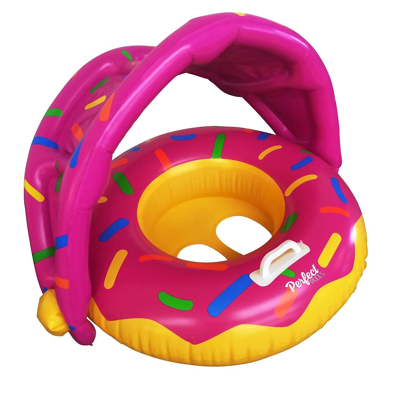 Perfect Pools Flotador Inflable Para Piscina Para Bebés - Anillo de Natación Bebé Rosquilla Asiento para Niños Pequeños con Sombrilla para Niños de 6 ...