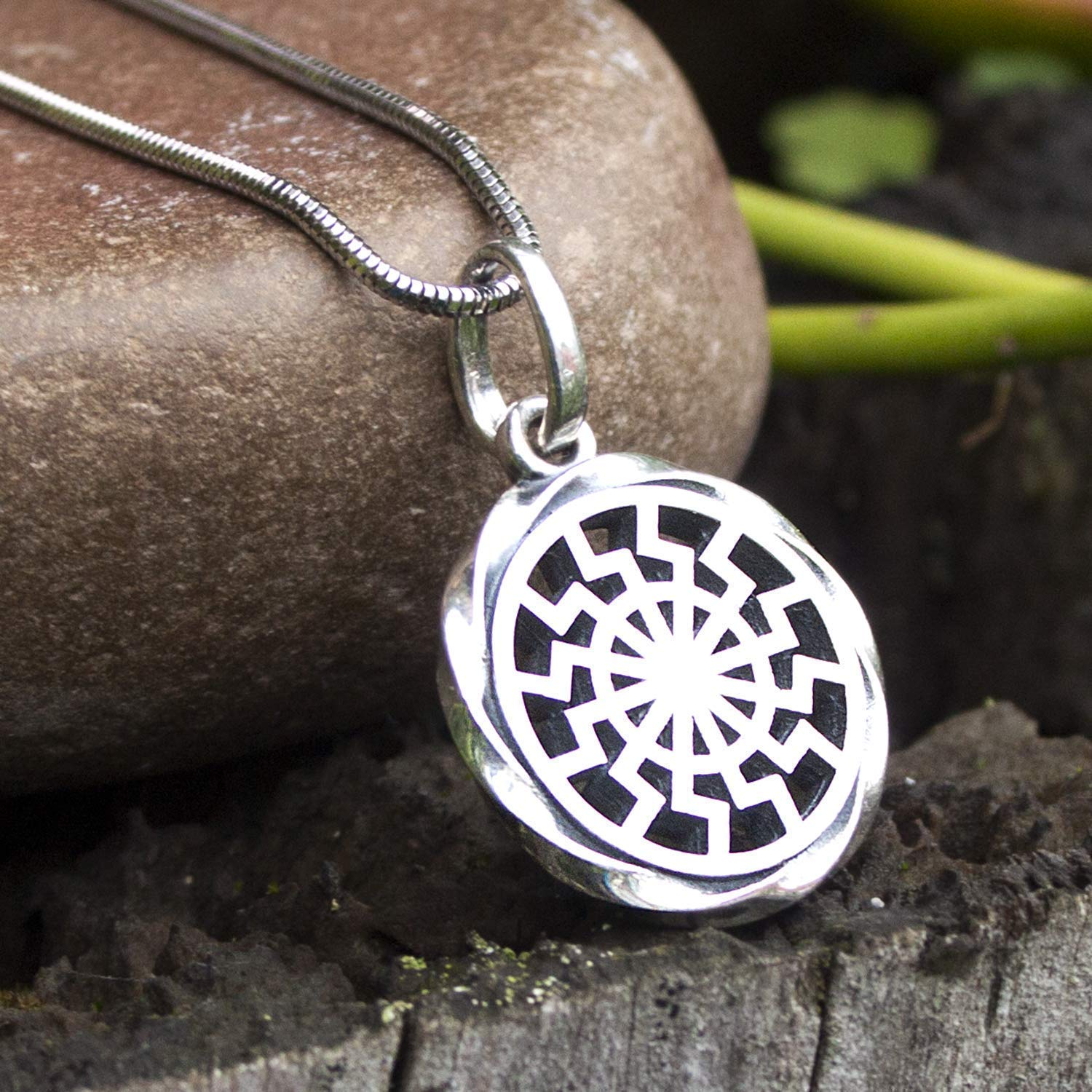 925 Sterling Silver Black Sun Necklace for Men Sun Wheel Pagan Amulet Norse Jewelry Handcrafted Pendant