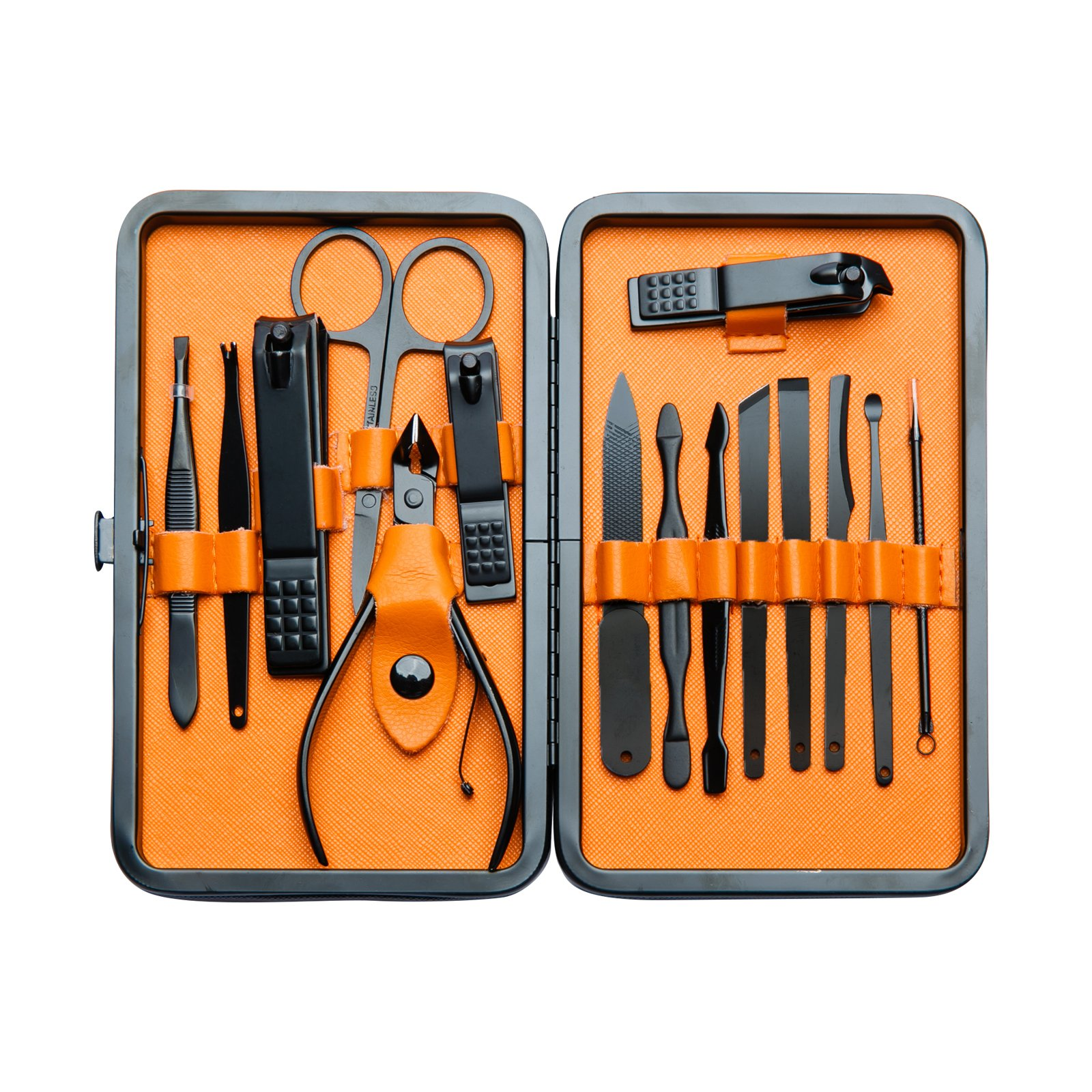 Euryno Professional Stainless Steel Black Polishing Nail Clipper Travel & Grooming Kit Nail Tools Manicure & Pedicure Set of 15 pcs with Stylish Case(Orange) by Euryno (Image #1)