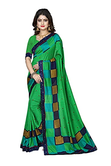 c820d772f6 Oomph! Georgette Saree with Blouse Piece (af2579a_Green_One Size ...