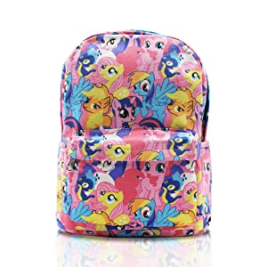 Finex My Little Pony Pink Canvas Cute Cartoon Casual Backpack with 15 inch Laptop Storage Compartment for Children Kids Girls Elementary School Daypack Travel Snack Sport Book Bag Gift