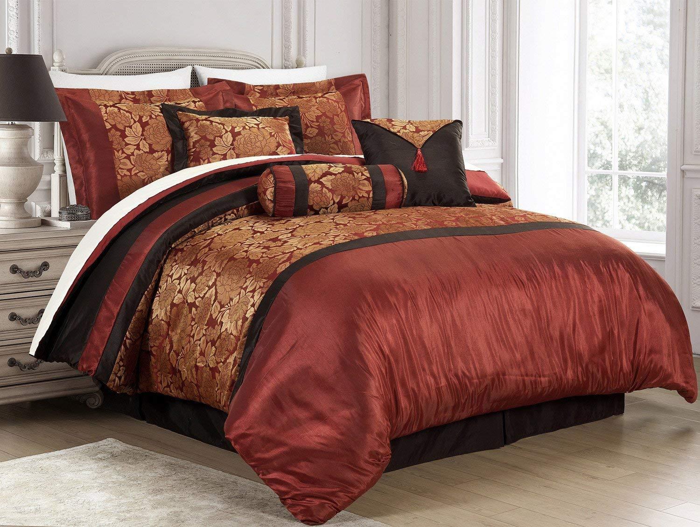 New 7-Piece Jacquard Floral Comforter Sets King,Modern Print Flower 7 piece Bedding Sets Bed-in-a-Bag King,Red/Black