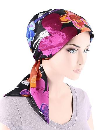 ecf4fb1f5 Chemo Fashion Scarf Easy Tie Turban Hat Headwear for Cancer Black Plum  Water Floral