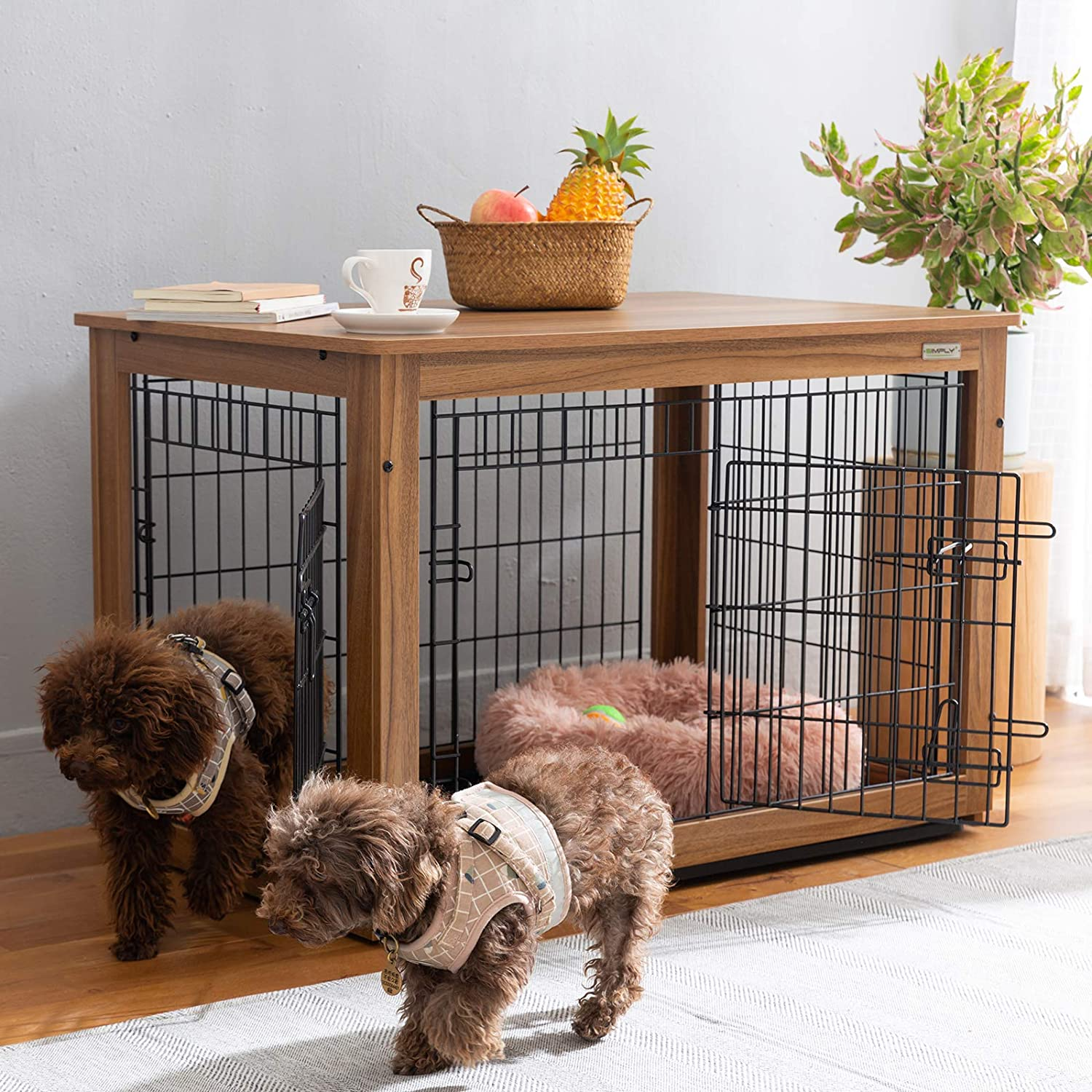 SIMPLY+ Wooden Dog Crate with Slide Tray, Wooden Wire Dog Kennels with Double Doors, Detachable Top Cover Indoor Pet Crate Side Table,Chew-Proof (37