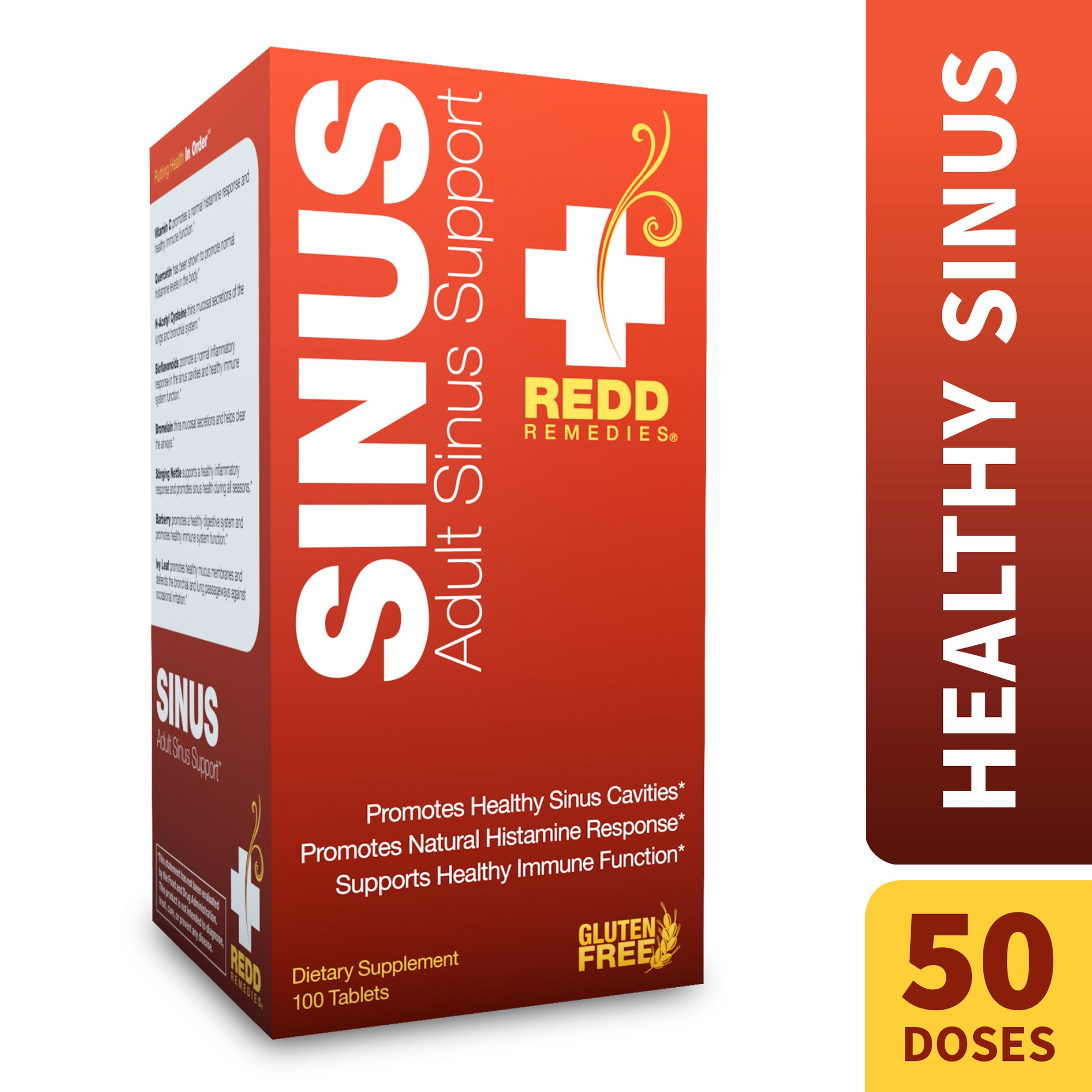 Redd Remedies - Adult Sinus Support, Natural Histamine Support for Sinus and Bronchial Health, 100 count by Redd Remedies