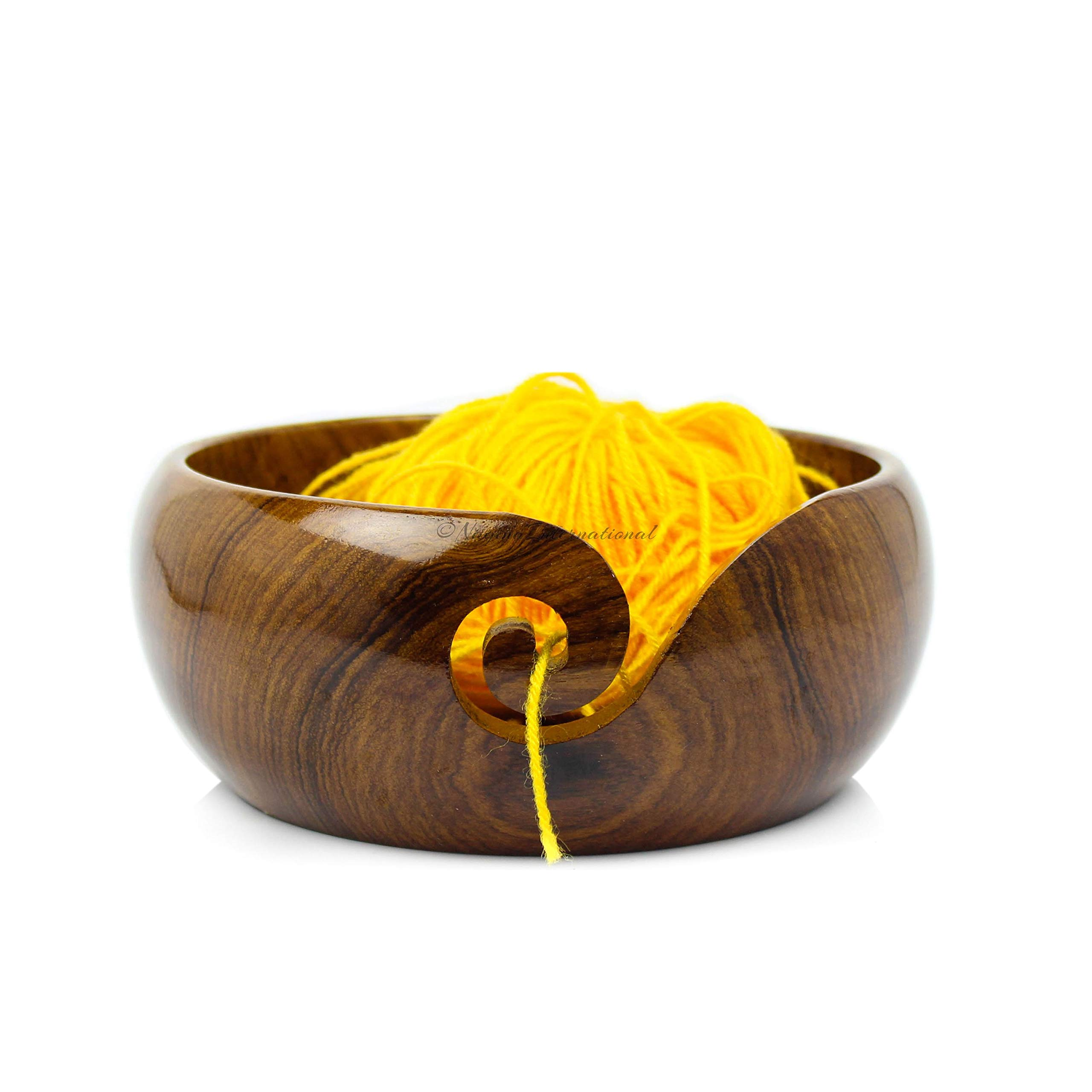 Nagina International Premium Rosewood Crafted Portable Yarn Storage Functional Bowl with Spiral Yarn Dispenser | Crocheting & Stitching Accessories (Medium)