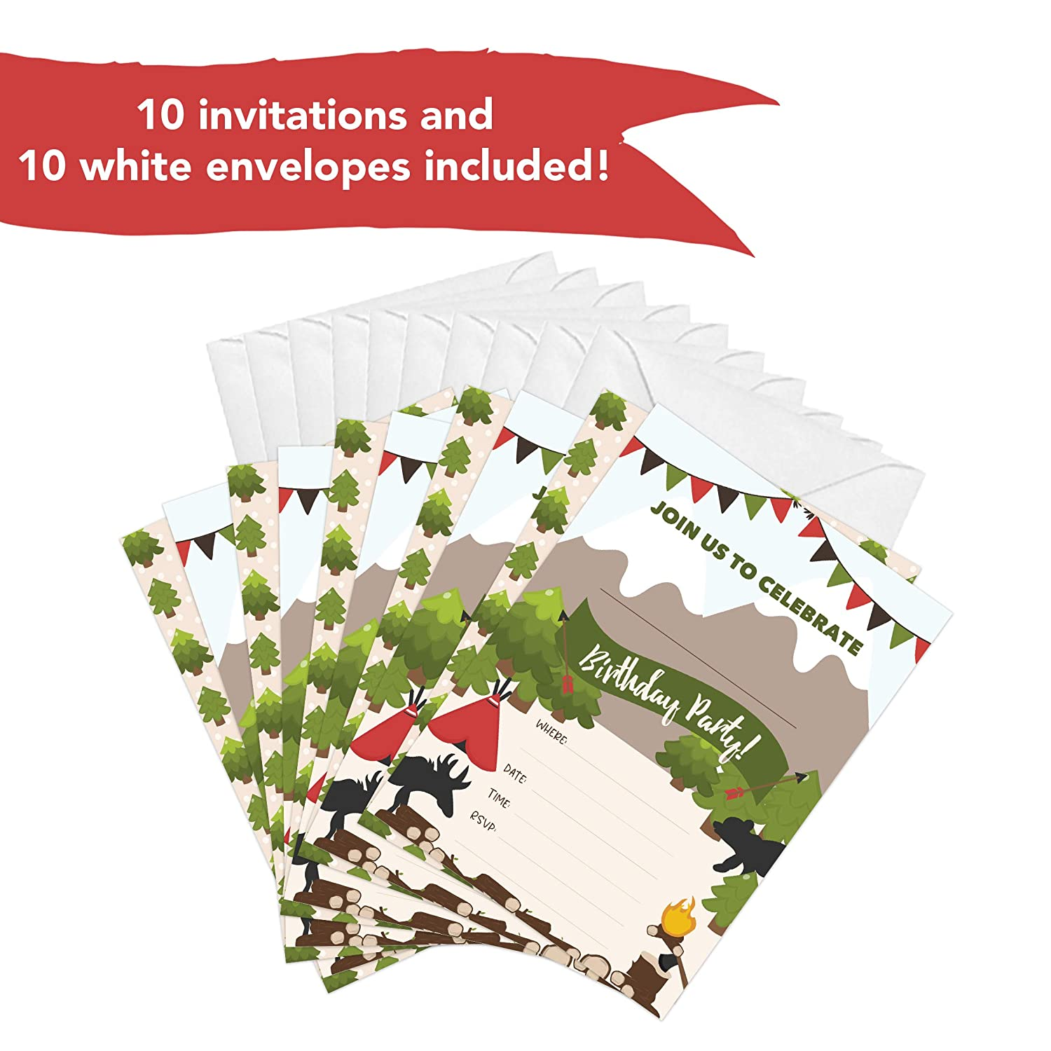 10ct Lumberjack Style 2 Happy Birthday Invitations Invite Cards With Envelopes Boys Girls Kids Party 10 Count