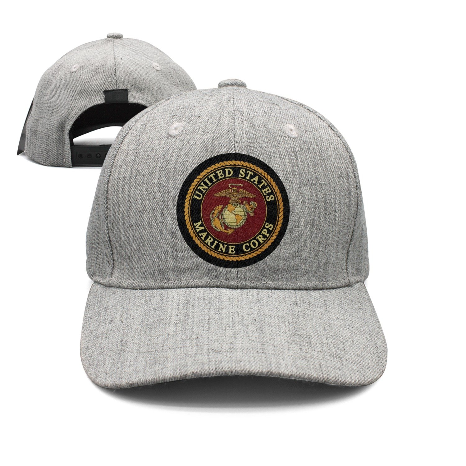 cc2bc51dd91 Amazon.com  Flat-Brim Baseball Caps USMC-Eagle Globe and Anchor Snapback  Unisex Adjustable Hat  Clothing
