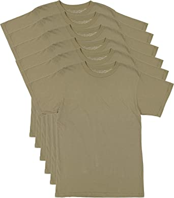 f35a4e486e87 6 Pack - AR 670-1 Army Compliant Coyote Brown Mens Military T-Shirt