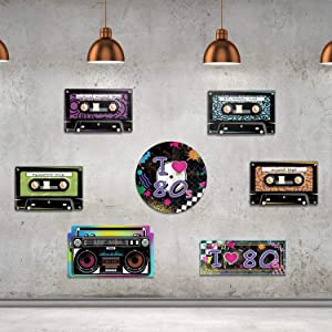 80's Party Supplies, 24 Pieces Cassette Tape Cutouts with 7 Different 80's Style, 1980s Party Decorations 80's Theme Party Hanging Cards Decorating Kit Retro Design with 2 Ropes and 40 Glue Point Dots