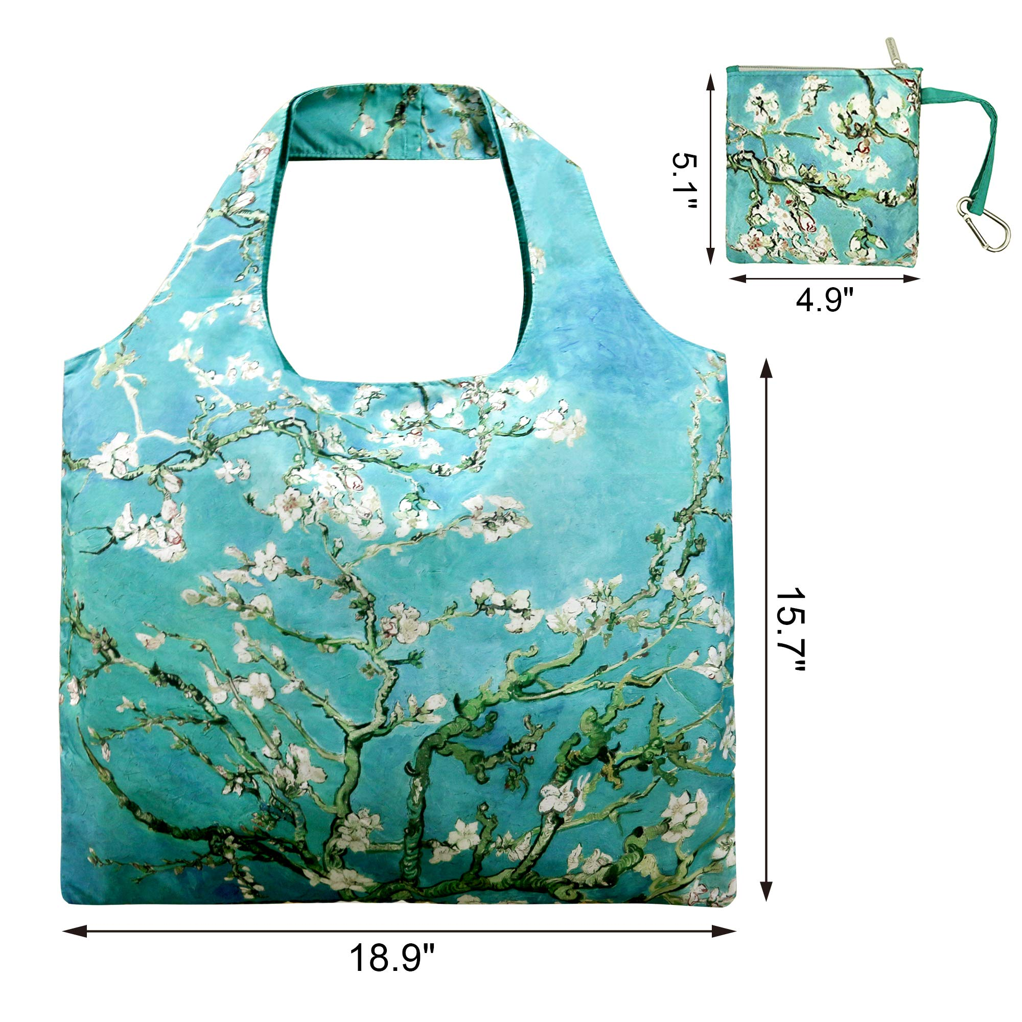 Reusable Grocery Bags with Zipper Closure,Foldable into Zippered Pocket … (Apricot tree) by BeeGreen (Image #4)