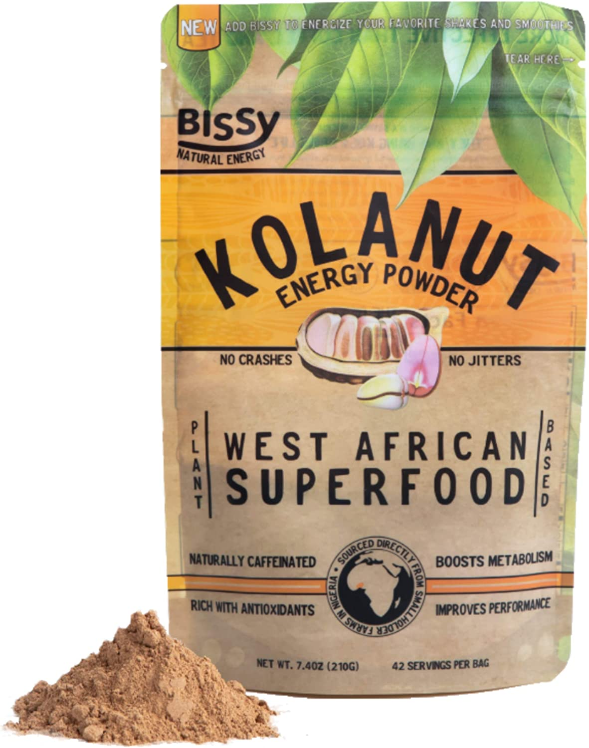Natural Kola Nut Energy Powder | More Effective Than Coffee & Tea | Mixes in Smoothies, Workout Shakes & Teas | 100% Plant Based Caffeine | 7.4oz (42 Servings) | by Bissy Energy
