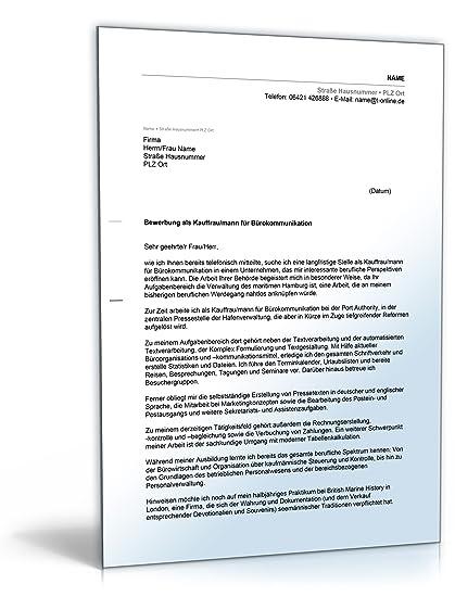 Anschreiben Bewerbung Bürokommunikation Word Dokument Amazonde