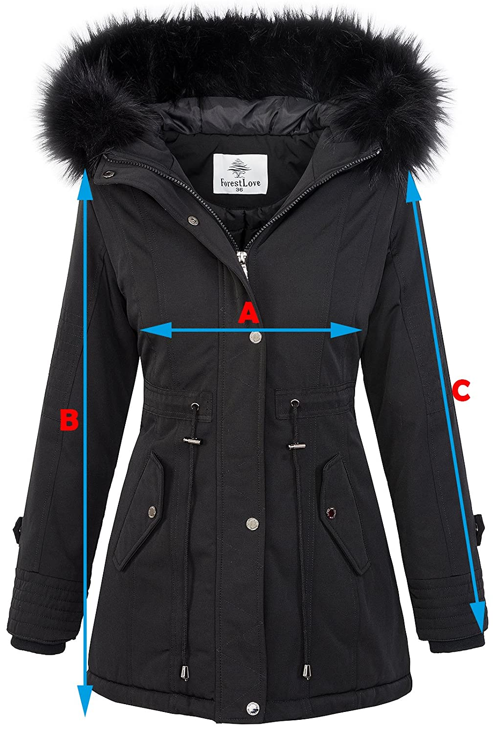 Rock Creek Designer Ladies Jacket Parka Coat Winter Jacket Short Coat D-345