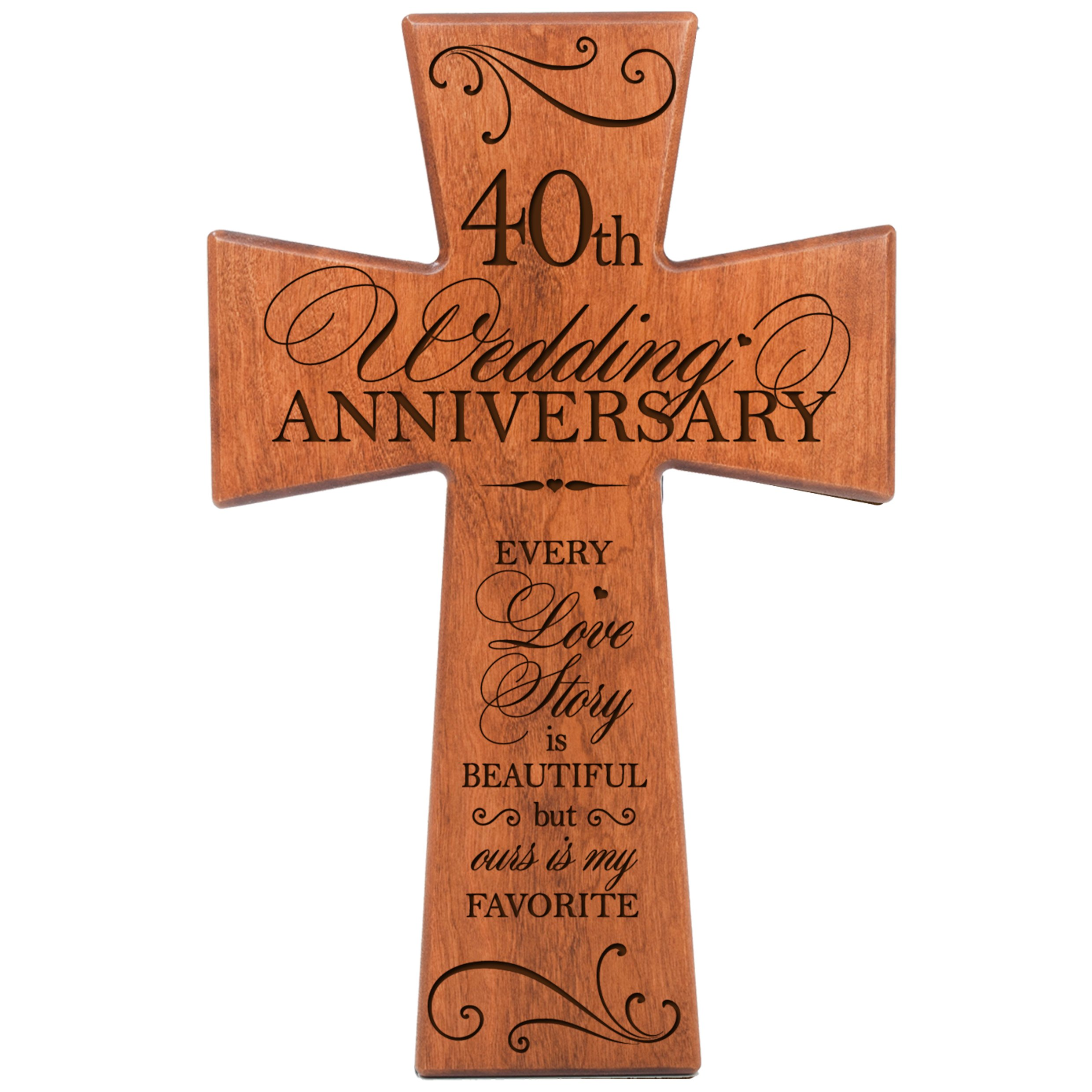 LifeSong Milestones 40th Wedding for Couple Cherry Wood Wall Cross, 40th for Her,40th Wedding for Him Every Love Story is Beautiful but Ours is My Favorite #62867