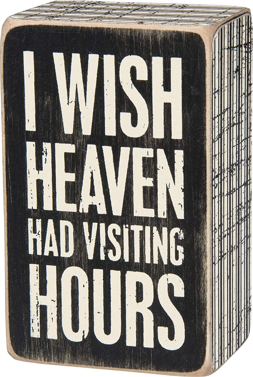 Primitives by Kathy 28462 Pinstripe Trimmed Box Sign, 2.5 x 4-Inches, Visiting Hours