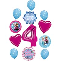 Frozen Party Supplies 4th Birthday Balloon Bouquet Decorations Elsa, Anna and Olaf Let It Snow