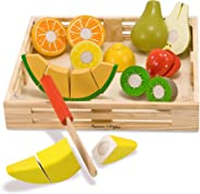 Melissa & Doug Cutting Fruit Set - The Original (Wooden Play Food Kids Toy, Wooden Crate, 17 Pieces, Great Gift for Girls and