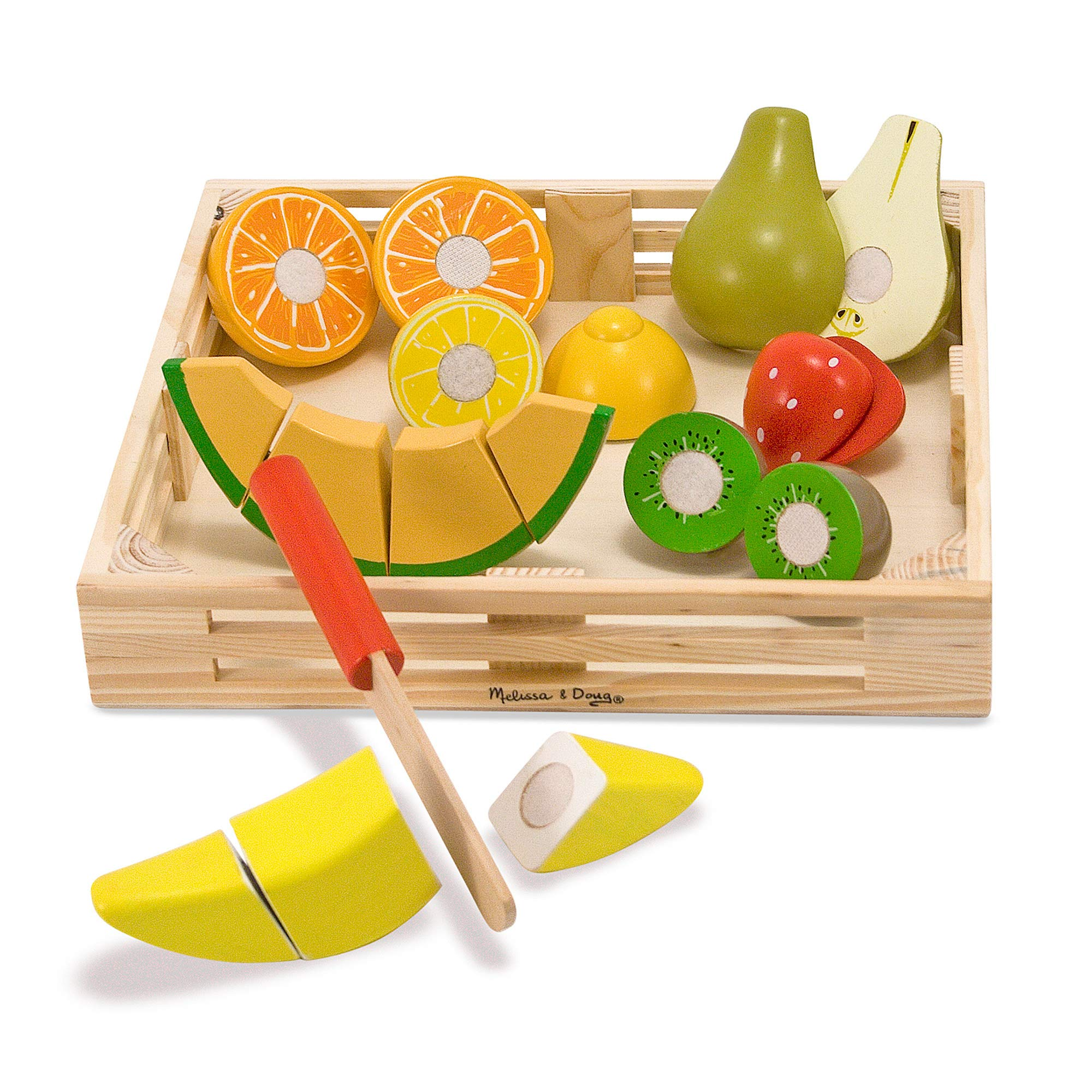Melissa & Doug Cutting Fruit Set (Wooden Play Food, Attractive Wooden Crate, Introduces Part and Whole Concepts, 17-Piece Set) by Melissa & Doug