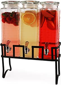 Circleware Preston Triple Mason Jar Beverage Dispensers with Black Metal Stand Fun Party Entertainment Glassware for Water, Iced Tea, Punch, Cold Drinks, 3-80 oz, Brick Design