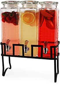 Circleware 69158 Preston Triple XL Tall Square Glass Beverage Dispensers and Metal Stand, 80 oz. each, each, Glassware for Water, Iced Tea Kombucha, Punch and all Cold Drinks