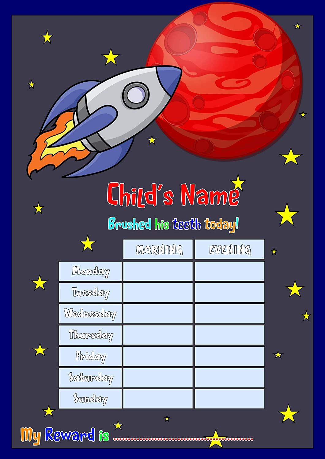 Tooth cleaning routine /& Star Stickers Happy Learners Personalised Teeth Brushing Chart Space Rocket