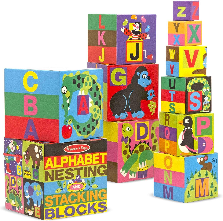 Melissa & Doug 12782 - Bloques alfabéticos en inglés Que se encajan y apilan
