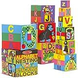 Melissa & Doug Alphabet Nesting and Stacking Blocks (10 Piece),Multi Color