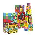 Melissa & Doug Bloques del alfabeto para encajar y apilar, juguetes de desarrollo, fácil almacenamiento, construcción...